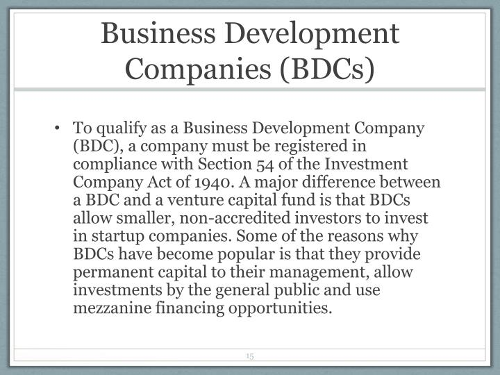 Business Development Companies (BDCs)