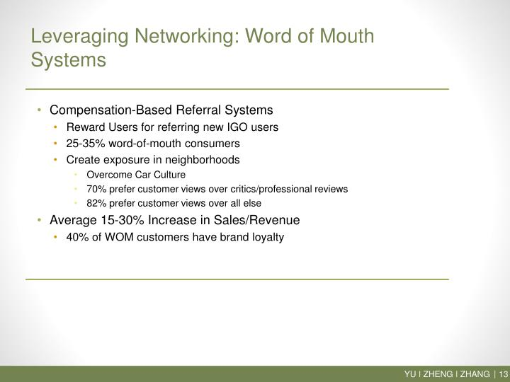 Leveraging Networking: Word of Mouth Systems
