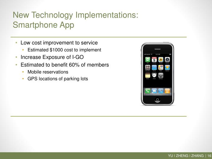 New Technology Implementations: Smartphone App