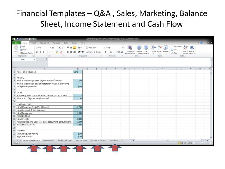 Financial Templates – Q&A , Sales, Marketing, Balance Sheet, Income Statement and Cash Flow