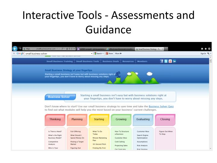 Interactive Tools - Assessments and Guidance