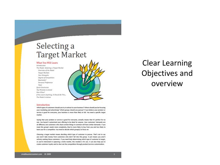 Clear Learning Objectives and overview
