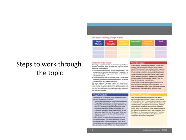 Steps to work through