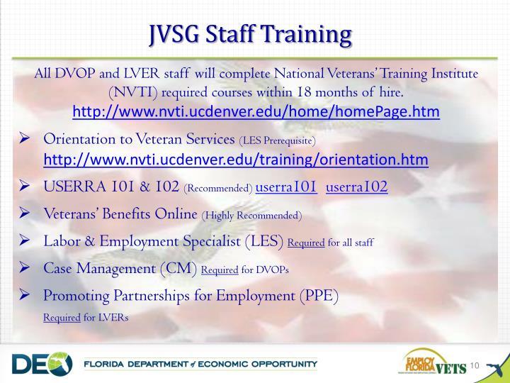 JVSG Staff Training