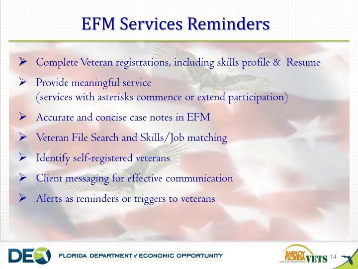 EFM Services Reminders