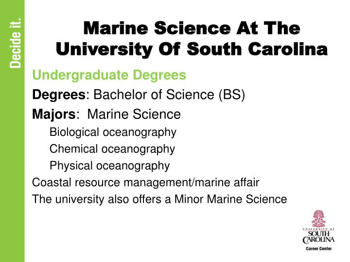Marine Science At The University Of South Carolina