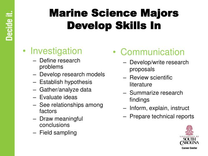 Marine Science Majors Develop Skills In