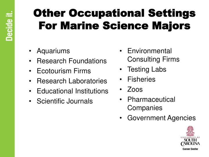 Other Occupational Settings For Marine Science Majors
