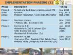 implementation phasing 1