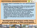 institutional arrangements status