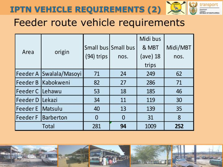 Feeder route vehicle requirements
