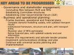 key areas to be progressed