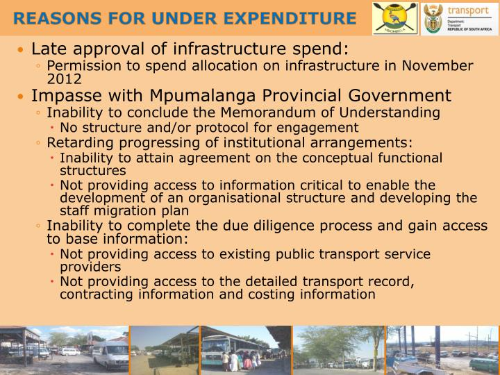 REASONS FOR UNDER EXPENDITURE