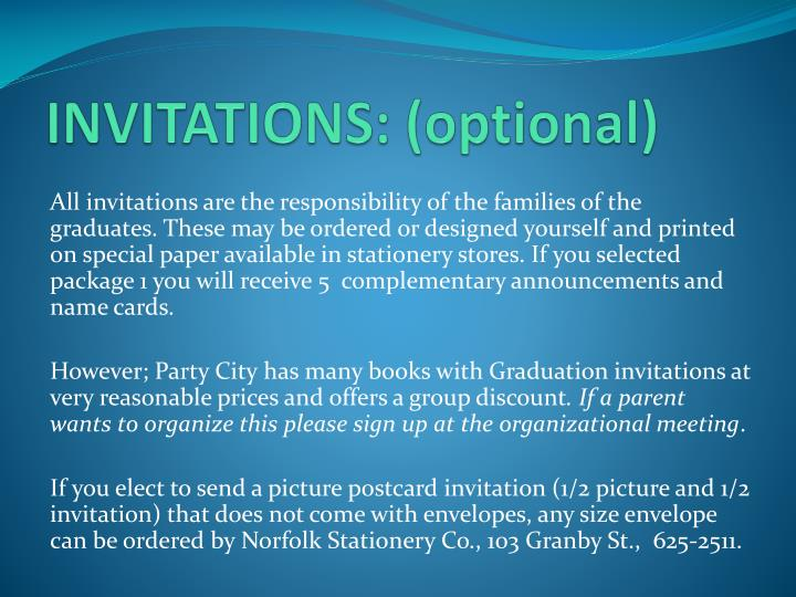 INVITATIONS: (optional)