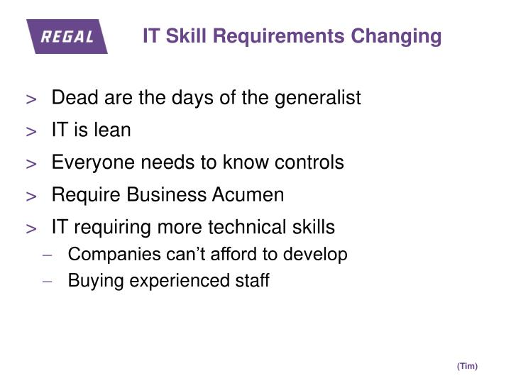 IT Skill Requirements Changing