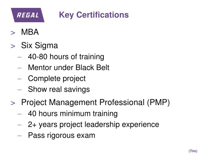 Key Certifications
