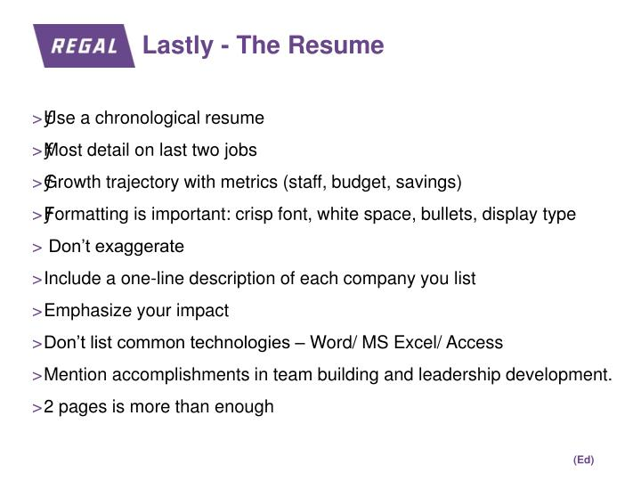 Lastly - The Resume