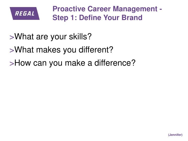 Proactive Career Management -