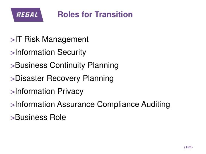Roles for Transition