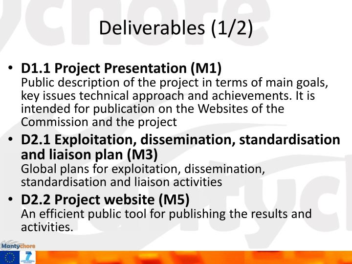Deliverables (1/2)