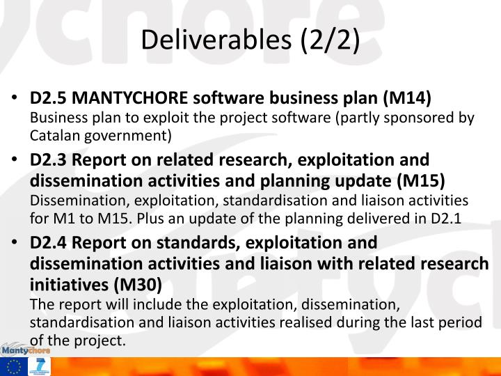 Deliverables (2/2)