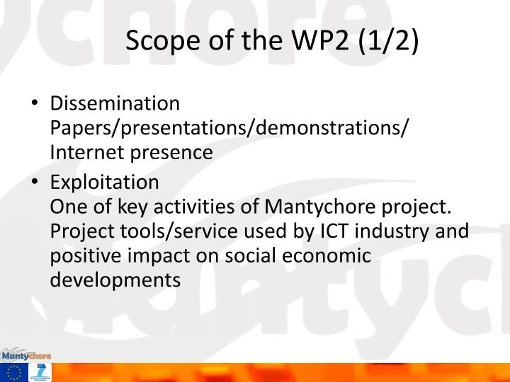 Scope of the WP2 (1/2)