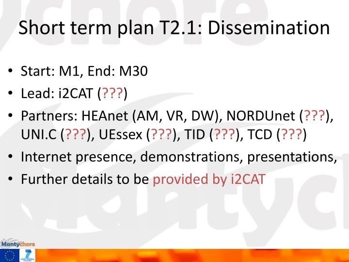 Short term plan T2.1: Dissemination