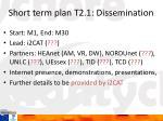 short term plan t2 1 dissemination