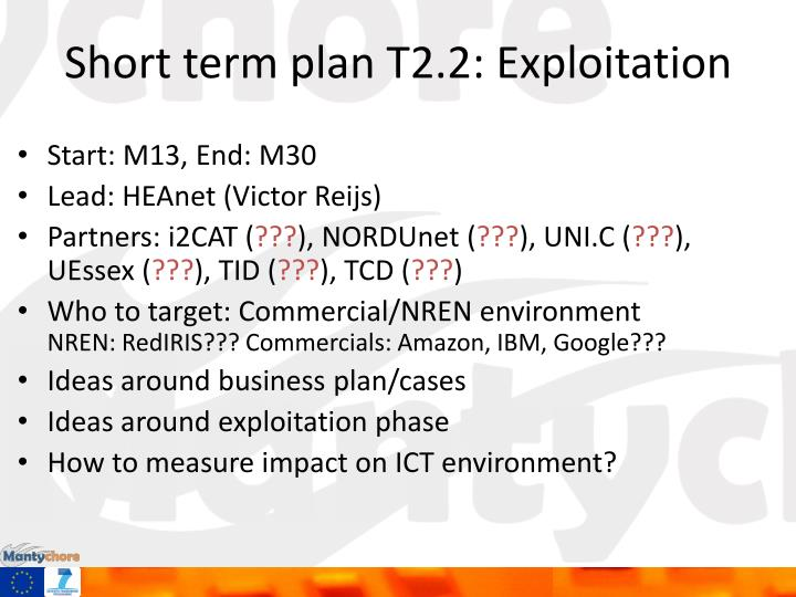 Short term plan T2.2: Exploitation