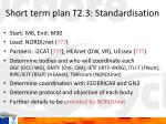 short term plan t2 3 standardisation