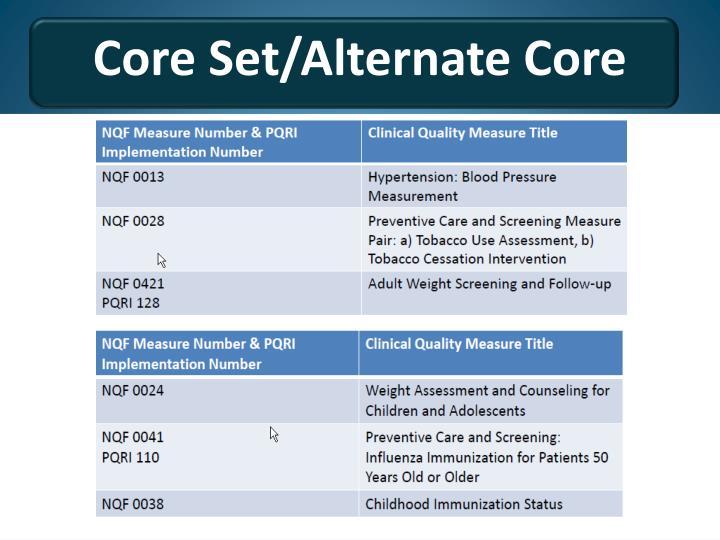 Core Set/Alternate Core