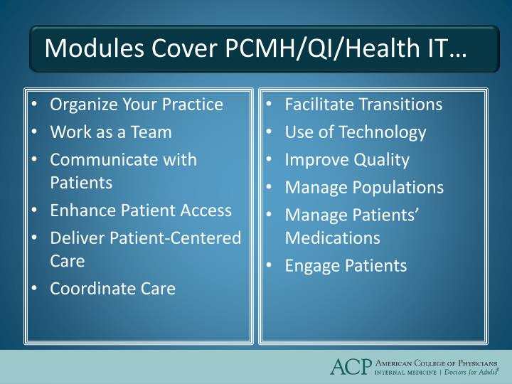 Modules Cover PCMH/QI/Health IT…