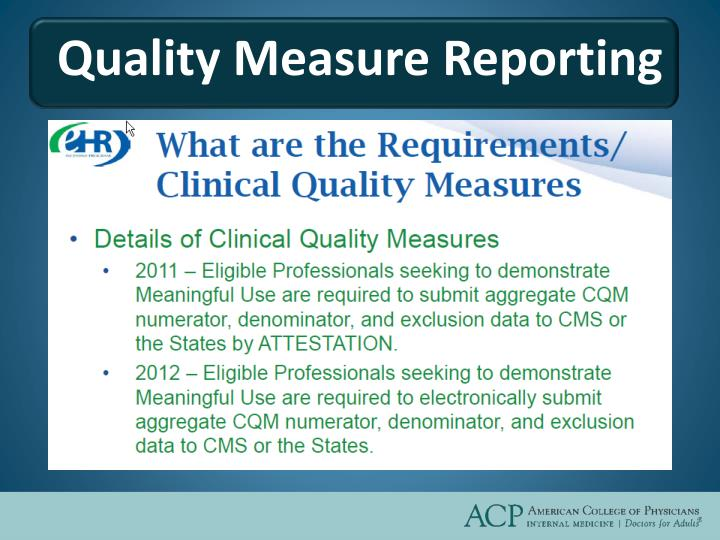 Quality Measure Reporting