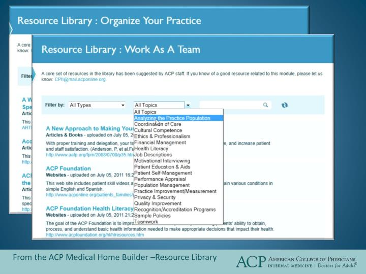 From the ACP Medical Home Builder –Resource Library