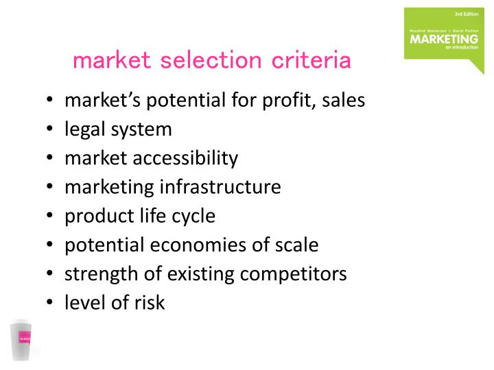 market selection criteria