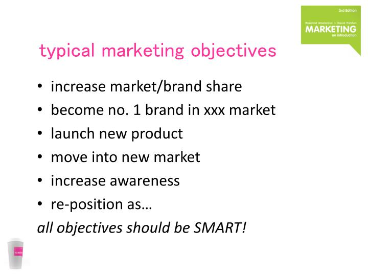 typical marketing objectives