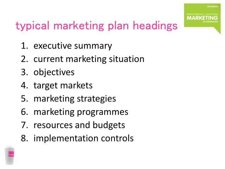 typical marketing plan headings