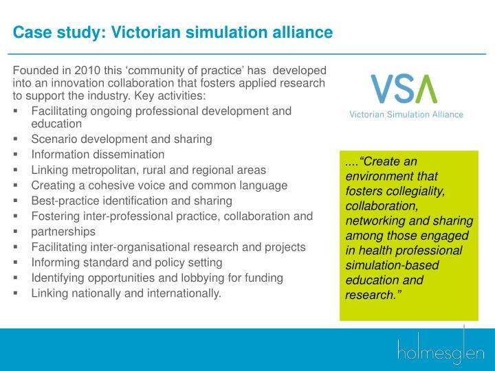 Case study: Victorian simulation alliance