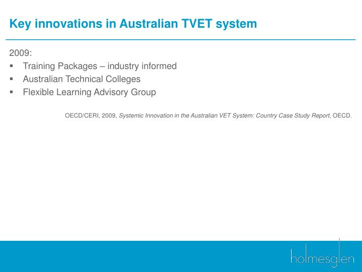 Key innovations in Australian TVET system