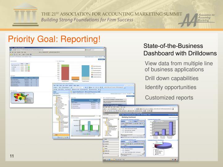 Priority Goal: Reporting!