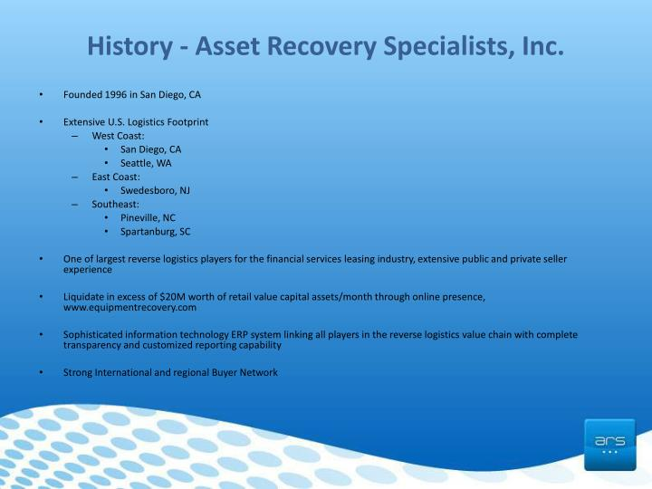 History asset recovery specialists inc