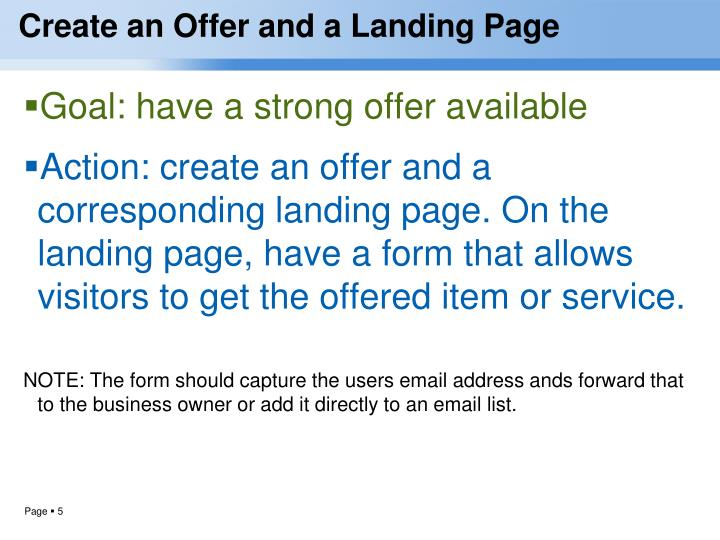 Create an Offer and a Landing Page