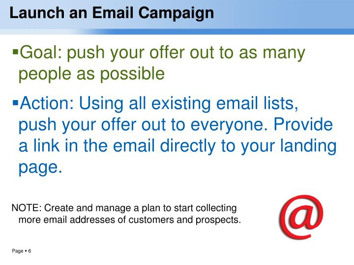 Launch an Email Campaign