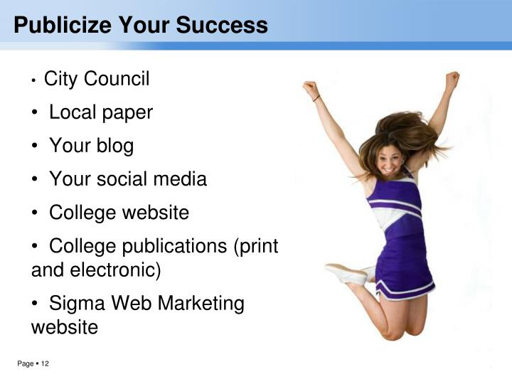 Publicize Your Success