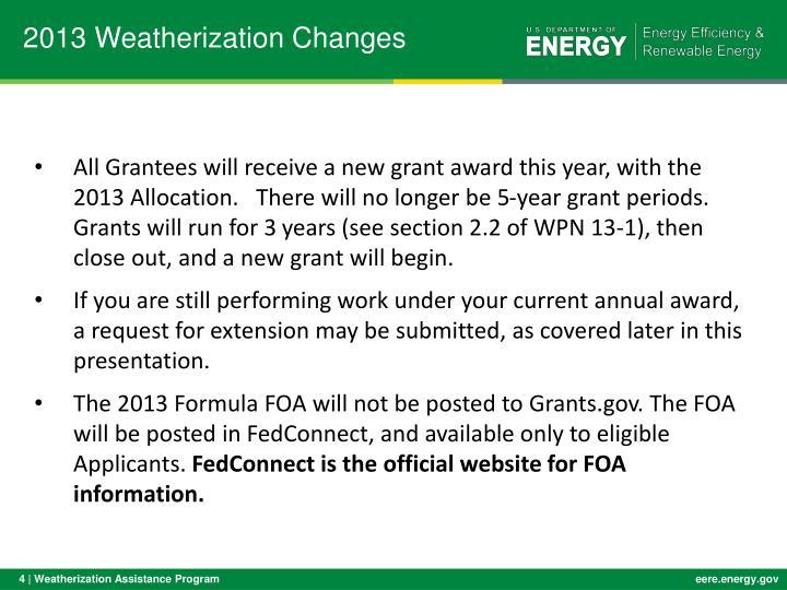 2013 Weatherization Changes