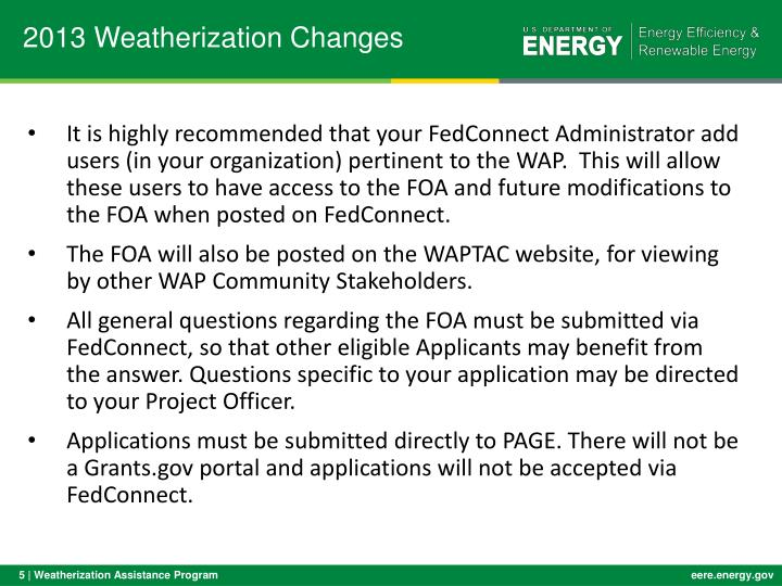 2013 Weatherization Changes