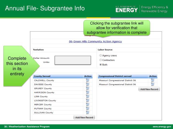 Annual File- Subgrantee Info