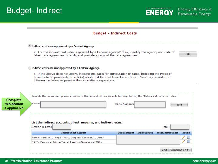 Budget- Indirect