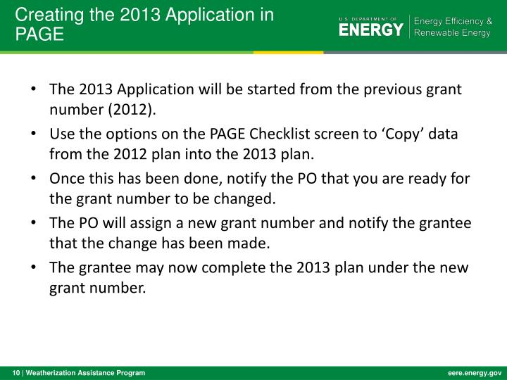 Creating the 2013 Application in PAGE