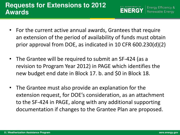 Requests for Extensions to 2012 Awards